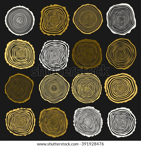 collection of vector tree rings