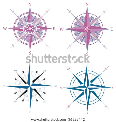Collection of vector vintage compasses