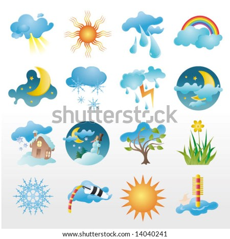 collection of vector, weather icons - stock vector