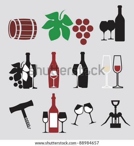 collection of vector wine icons - stock vector