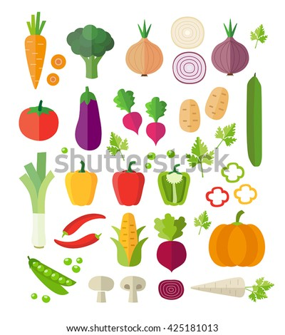 Collection of vegetables - healthy eating, healthy lifestyle. Modern flat design style. Can be used for web or printed graphics, infographics. #425181013