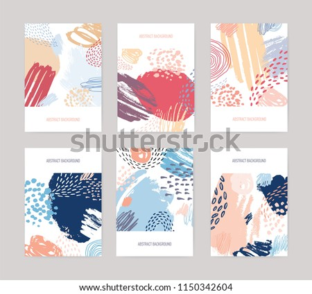 Collection of vertical abstract backdrops or card templates with colorful paint traces, blotches, smudges, stains on white background. Creative vector illustration in contemporary art style.