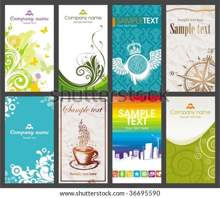Collection of vertical colorful business card
