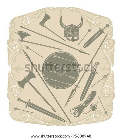 Collection of Viking weapons, vector