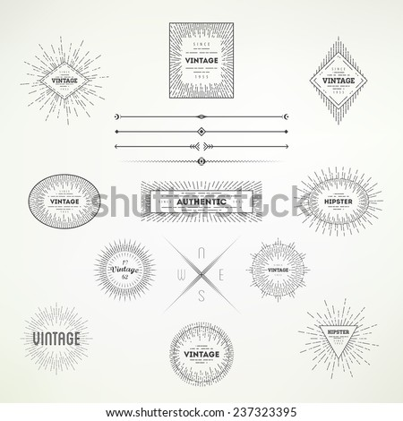 Collection of vintage abstract decorative elements for your design. Hipster labels for poster, advertising, signs, banner creations.