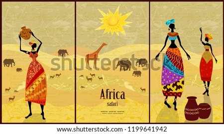 collection of vintage banners with pretty African women