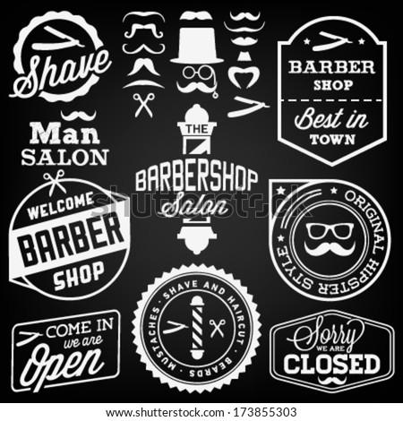 Collection of Vintage Barber Shop Design Elements