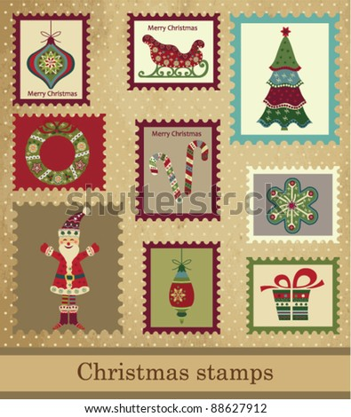 Collection of Vintage Christmas stamps - stock vector