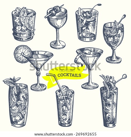 collection of vintage cocktails