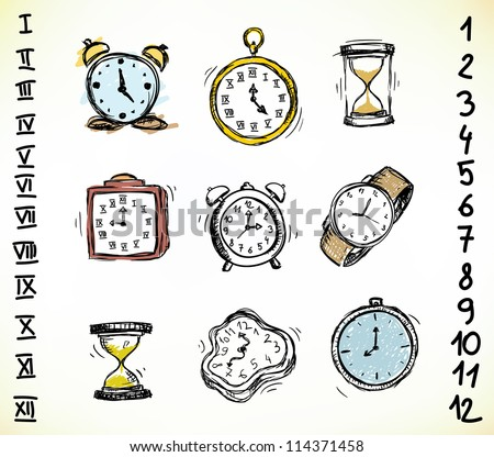 Collection of vintage doodled clocks and watches - stock vector
