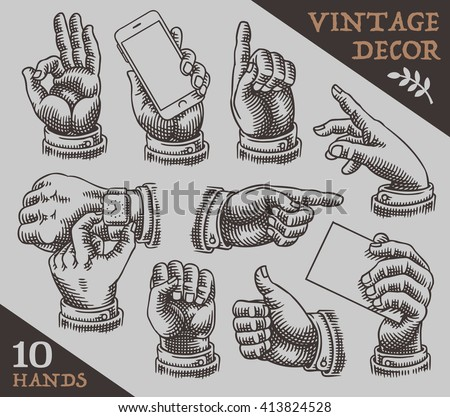 Shutterstock Collection of vintage hands.