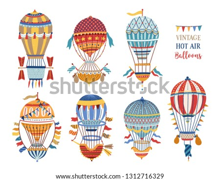 Collection of vintage hot air balloons of different texture and color isolated on white background. Bundle of retro manned flying aircrafts decorated with flags. Vector illustration in flat style. Foto stock ©