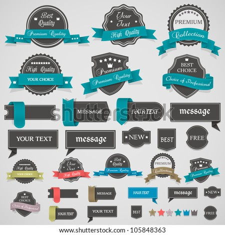 Collection of vintage labels and ribbons.Vector design elements
