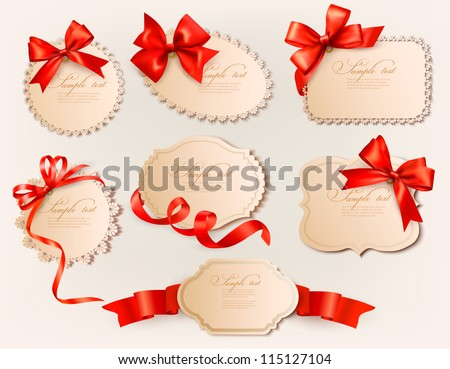 Collection of vintage labels with a red gift bows and ribbons. Vector illustration. - stock vector