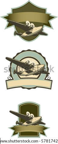 Collection of vintage looking airplane labels with pen and ink style airplane.