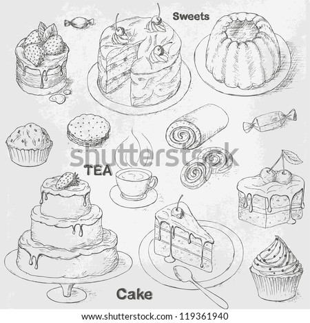 Collection of vintage pastry, cakes and sweets. Teatime icon set