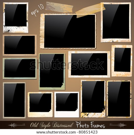 Collection of Vintage Photo Frames with antique distressed look. Behind black square background are complete with drops and colours with unique old style.