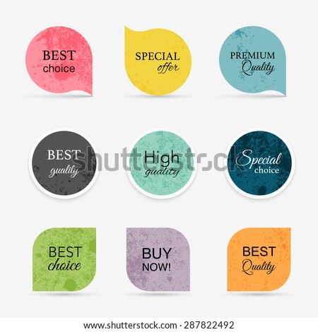 Collection of vintage promo seals/stickers. Isolated vector illustration