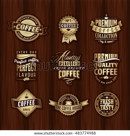 Collection of Vintage retro coffee vector labels or logo on the old wood texture