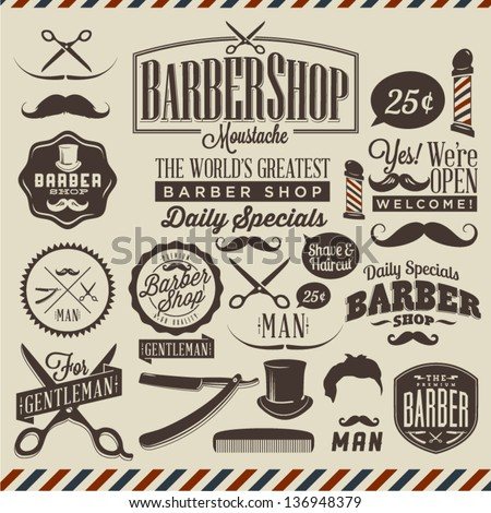 Collection of vintage retro grunge barber shop labels