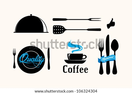 Collection of vintage retro grunge coffee and restaurant labels