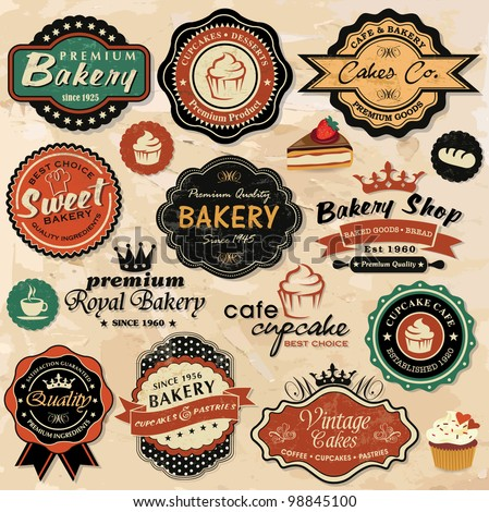 Collection of vintage retro grunge food labels, badges and icons - stock vector