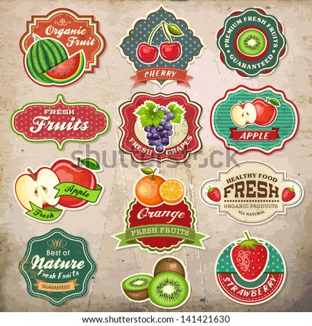 Collection of vintage retro grunge fresh fruit labels, badges and icons