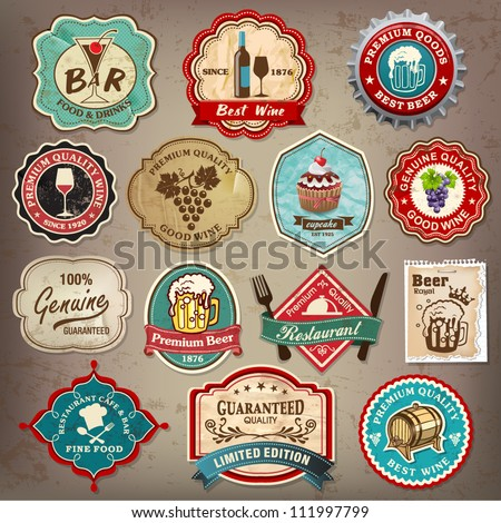 Collection of vintage retro grunge wine, beer, restaurant cafe and bar labels, badges and icons - stock vector