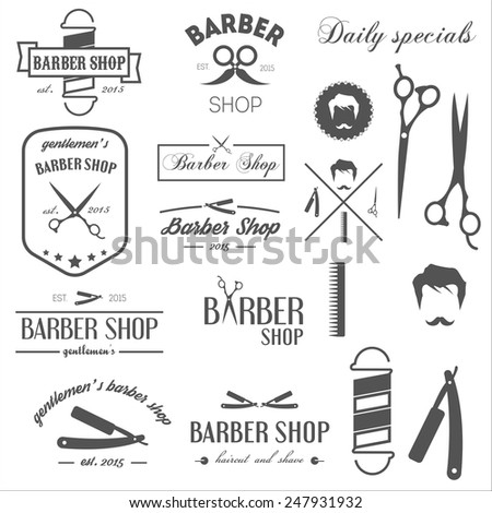 Collection of vintage retro labels, logotypes and elements for barbershop