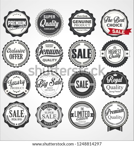 Collection of vintage retro premium quality badges and labels