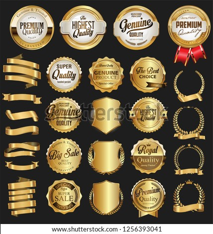 Collection of vintage retro premium quality golden badges and labels