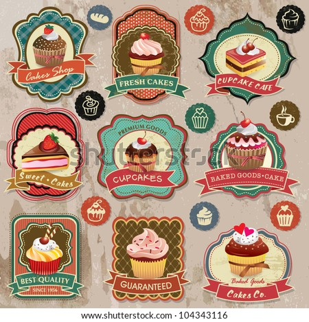 Collection of vintage retro various cupcakes labels badges and icons