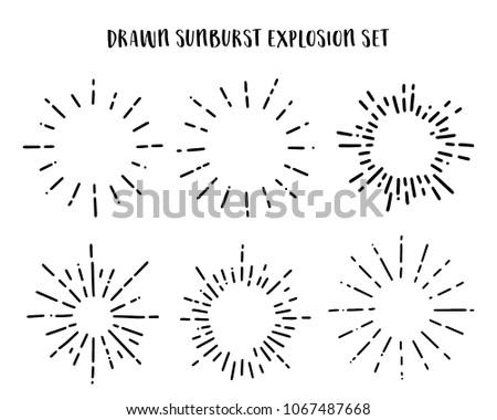 Collection of Vintage Sunburst Explosion Handdrawn Design Elements Fireworks Black Rays