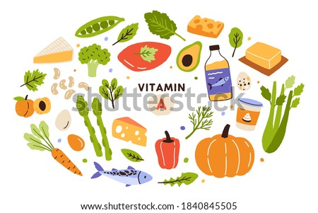 Collection of vitamin A sources. Healthy food containing carotene. Dairy products, greens, vegetable, fruits, fish. Dietetic organic products, natural nutrition. Flat vector cartoon illustration