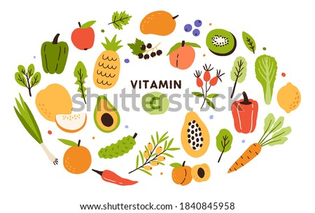 Collection of vitamin C sources. Fruits and vegetables enriched with ascorbic acid. Dietetic food, organic nutrition composition. Flat vector cartoon illustration isolated on white background