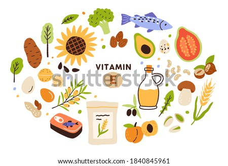 Collection of vitamin E sources. Balanced wholesome food. Fruits, vegetables, nuts, oil and fish. Dietetics products, organic. Flat vector cartoon illustration isolated on white background