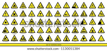Collection of warning and safety signs. Set of safety and caution signs. Signs of danger and alerts.
