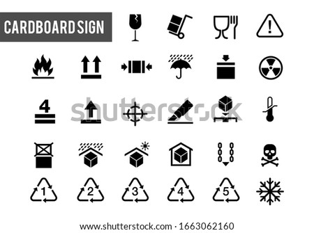 collection of warning signs on cardboard boxes or packaging of goods such as fragile cargo, maximum piles, avoidance of water, and others. Box warning sign icon set. Perfect for delivery and shipping.