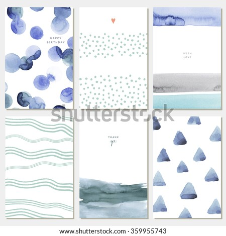 Collection of watercolor art cards. Hand drawn set of backgrounds with abstract paint. Vector illustration. Ideal for cards, posters, invitations. Isolated.