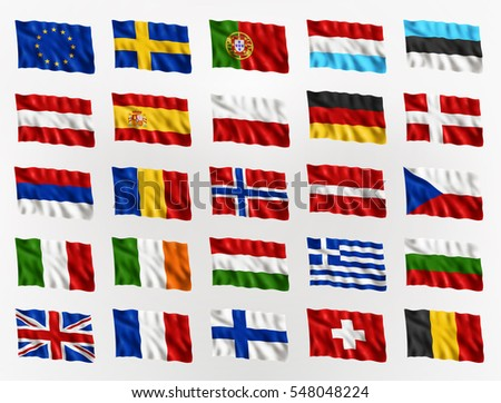 collection of waving flags of