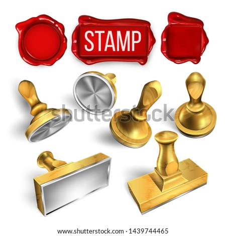 Collection Of Wax Seal And Stamp Cliche Set Vector. Different Form Round And Rectangular, Material Wooden And Metallic Stamp. Office Post Tool For Document And Mail Template Realistic 3d Illustration stock photo
