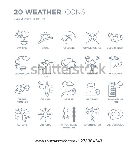 Collection of 20 Weather linear icons such as Daytime, Dawn, atmospheric pressure, Aurora, Autumn, Cloudy night, Climate line icons with thin line stroke, vector illustration of trendy icon set.