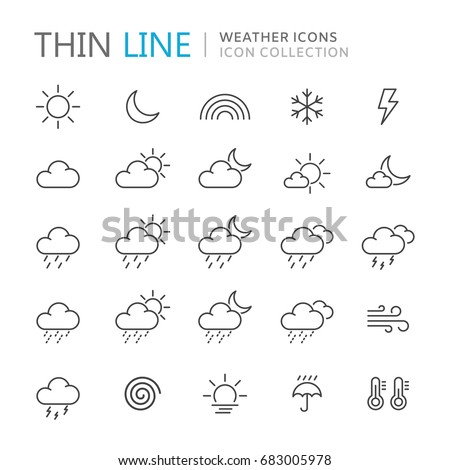 collection of weather thin line