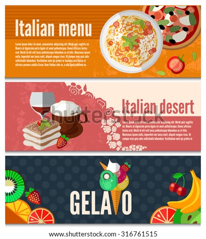 Collection of web banners with with Italian food, drinks and dessert. Food flat design, vector illustration. EPS 10