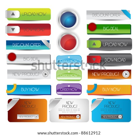 collection of web button with banners
