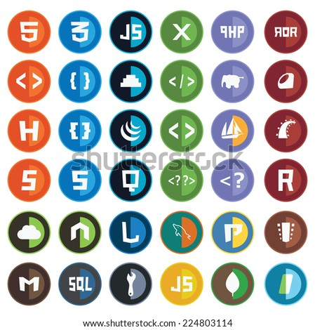 collection of web development shield signs - html5 css3 javascript isolated round icons
