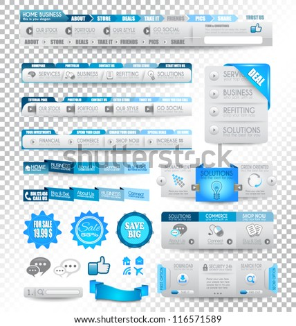 Collection of web elements menu item carousel icons ribbons template for headers footers bar side bar and so on All in blue tones