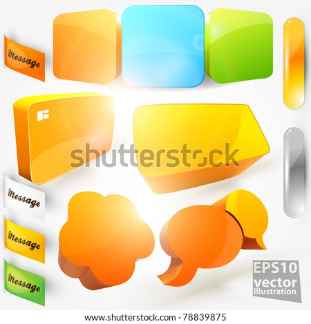 Collection Of Website Elements. Colorful stickers and frames for design.