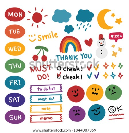 Collection of weekly or daily planner, note paper, to do list, memo, stickers templates decorated by illustrations. weather, days.