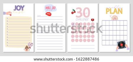 Collection of weekly or daily planner, note paper, to do list, stickers templates decorated by cute romantic elements and human hands illustrations and lovely typography quote. Vector Illustration.